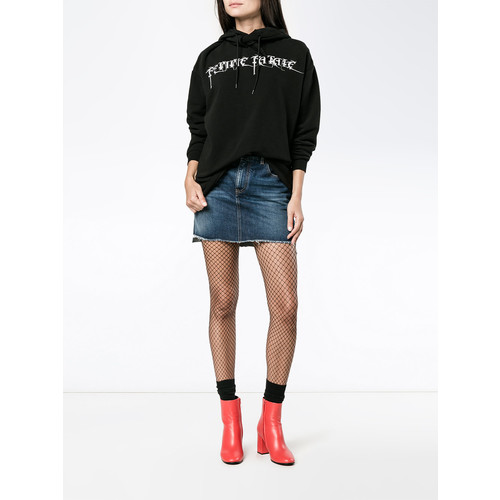 SAINT LAURENT Asymmetric Embroidered Mini Skirt