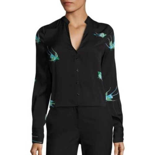 DIANE VON FURSTENBERG Embroidered Bird Silk Blend Top