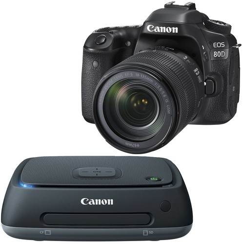 Canon - Canon EOS 80D DSLR Camera with 18-135mm IS USM Lens and Connect Station CS100 1TB External USB 2.0 Portable Hard Drive