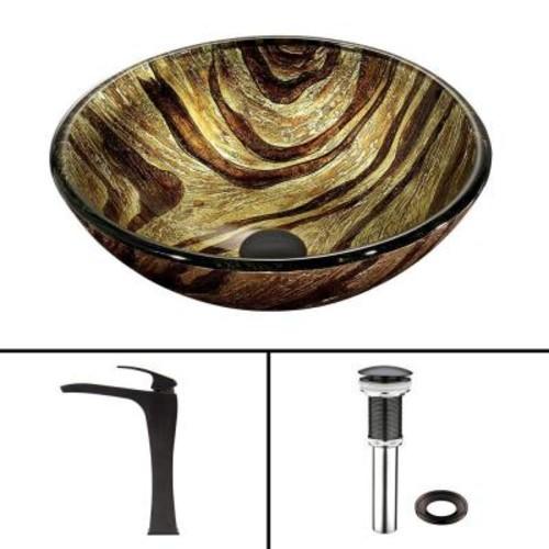 Vigo Glass Vessel Sink in Zebra and Blackstonian Faucet Set in Antique Rubbed Bronze