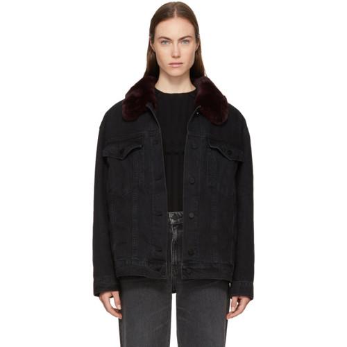 ALEXANDER WANG Black Fur Collar Denim Boyfriend Jacket