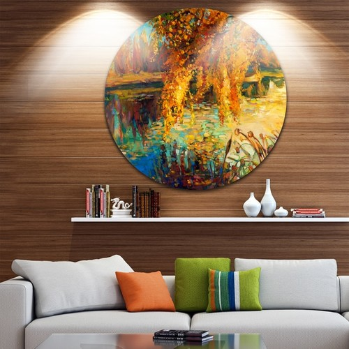 Designart 'Autumn Forest and Sky' Landscape Glossy Metal Wall Art