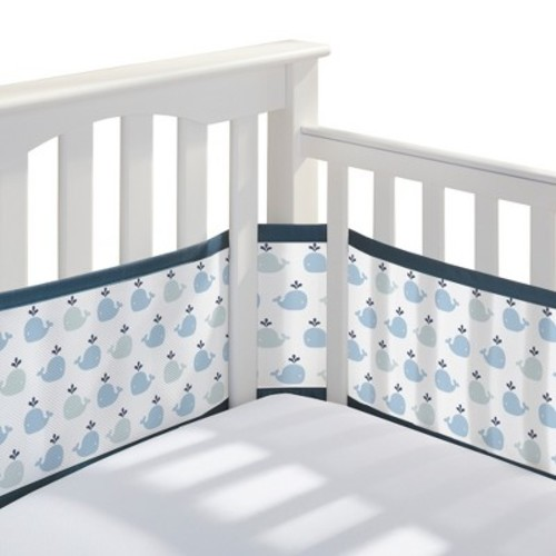 BreathableBaby Mesh Crib Liner - Little Whale - Navy
