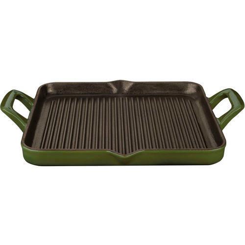 La Cuisine 1 Qt. Cast Iron Rectangular Grill Pan with Green Enamel