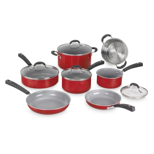 Cuisinart ADVANTAGE CERAMICA XT NON-STICK 11-Piece Red Cookware Set
