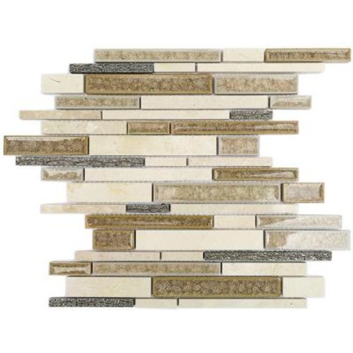 Splashback Tile Olive Branch Crema Marfil Glass and Stone Mosaic Tile - 3 in. x 6 in. Tile Sample
