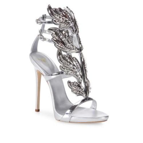 Crystal-Embellished Metallic Leather Wing Sandals