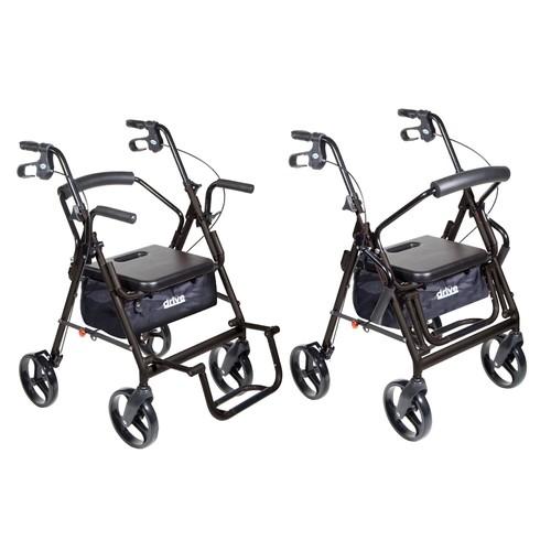 Drive Medical Duet Transport Wheelchair Rollator Walker