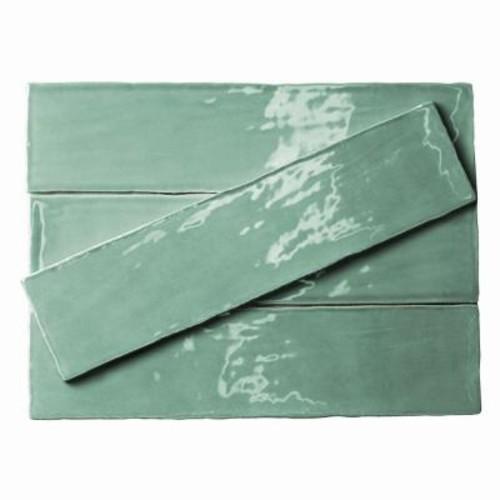 Splashback Tile Catalina Green Lake Ceramic Wall Tile - 3 in. x 12 in. Tile Sample