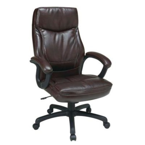 Work Smart Mocha Eco Leather High Back Executive Office Chair