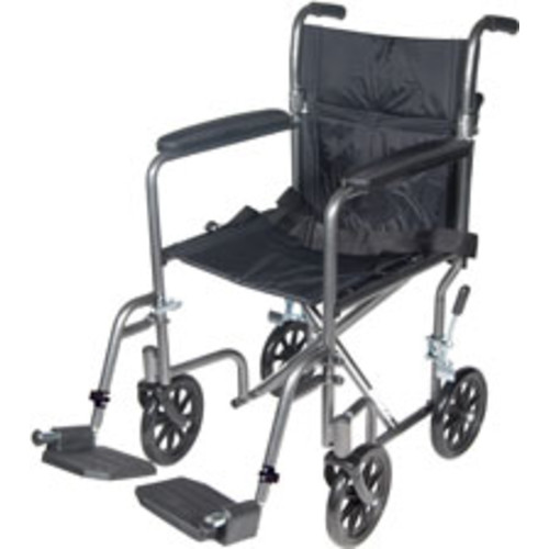 Drive Medical Lightweight Steel Transport Wheelchair, Fixed Full Arms, 17\