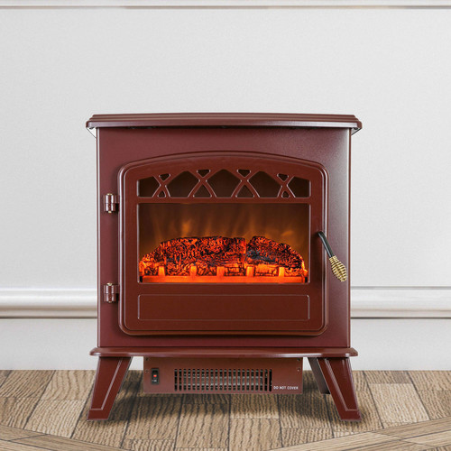 AKDY 20 in. Freestanding Electric Fireplace Stove Heater in Red with Vintage Glass Door, Realistic Flame and Logs