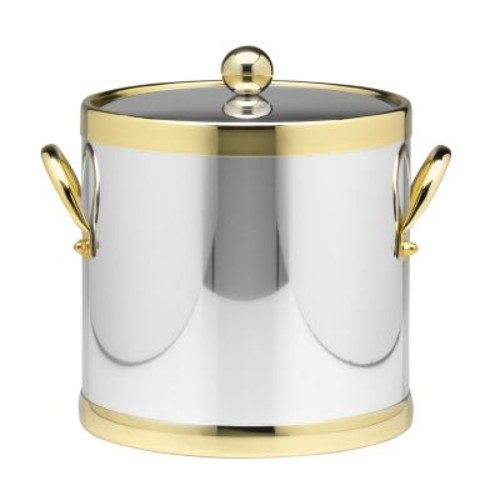 Kraftware Americano 3 Qt. Polished Chrome & Brass Ice Bucket with Brass Lid, Metal Side Handles
