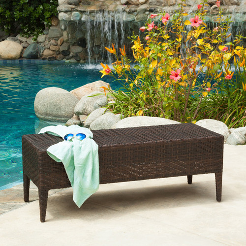 PE Wicker Outdoor Bench