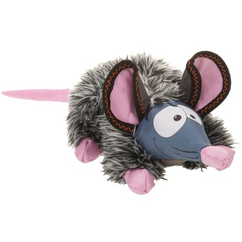 Happy Tails Loonies Furry Mouse Dog Toy - Squeaker
