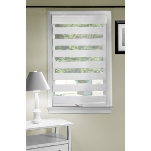 Achim 33 in. W x 72 in. L Sheer Linen Cordless Double Layered Horizontal Fabric Roman Shade