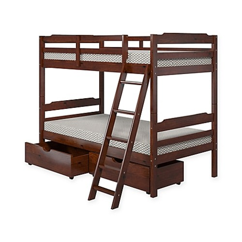 Manhattan Comfort Solid Pine Wood Twin Bunk Bed with Storage in Brown