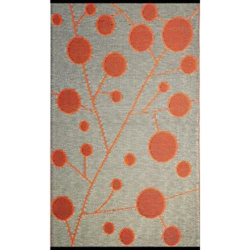b.b.begonia Cotton Ball Brown/Orange 6 ft. x 9 ft. Outdoor Reversible Area Rug