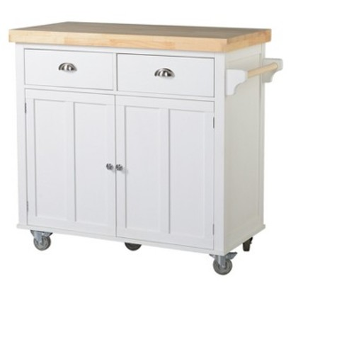 Kitchen Cart with Wood Top and Casters - White - Homestar