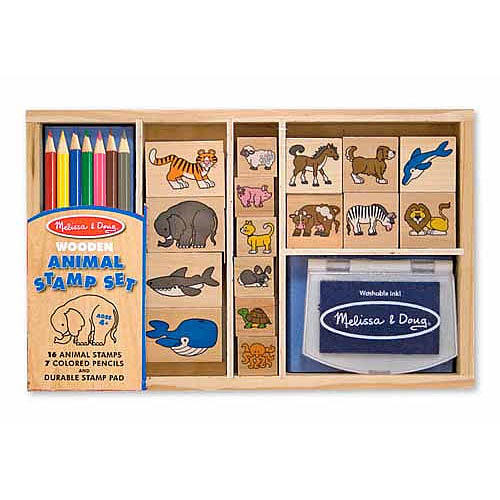 Melissa & Doug Animals Wooden Stamp Set