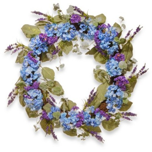 Artificial Hydrangea Wreath Blue 32