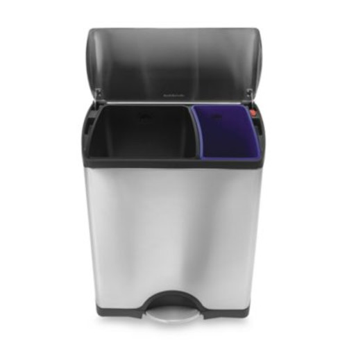 simplehuman Brushed Stainless Steel Fingerprint-Proof Rectangular 46-Liter Recycler Trash Can