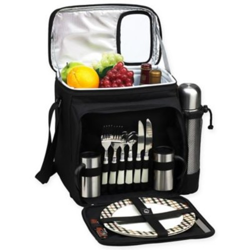 Picnic & Coffee Basket/Cooler for 2 in Black