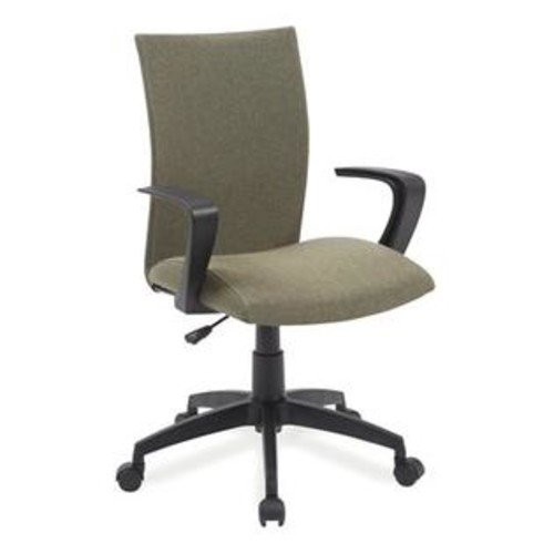 Leick 10115 Apostrophe Office Chair with Caster Base (ATG_10115GN), Sage Green Linen, Black