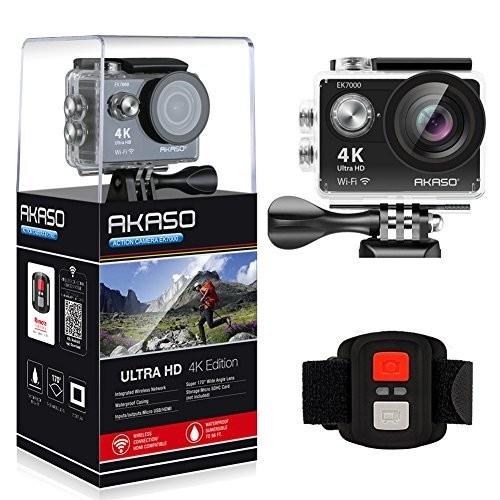 AKASO EK7000 4K WIFI Sports Action Camera Ultra HD Waterproof DV Camcorder 12MP 170 Degree Wide Angle [Black]