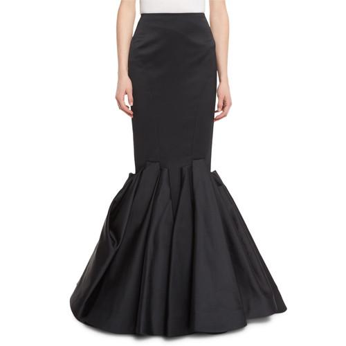 ZAC POSEN Duchess Satin Trumpet Evening Skirt, Black