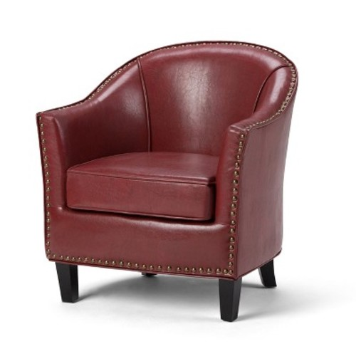 Kildare Bonded Leather Tub Chair - Radicchio Red - Simpli Home