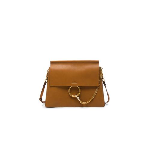 Chloe Medium Goatskin Faye Shoulder Bag in Caramel