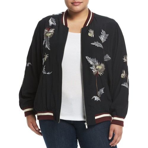 Chelsea & Theodore Plus Long-Sleeve Embroidered Bomber Jacket, Plus Size