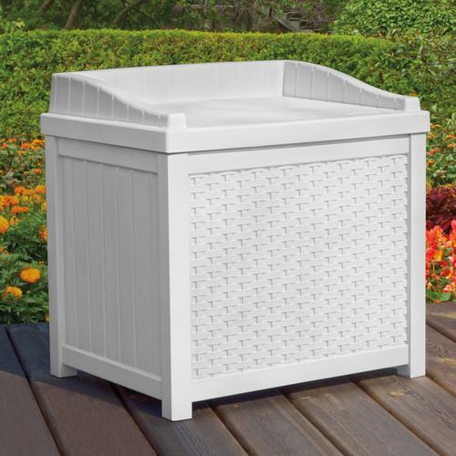 Suncast 22 Gallon Java Resin Wicker Small Storage Seat Deck Box SSW1200