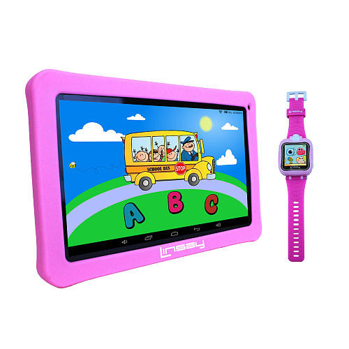 LINSAY 10.1 inch Quad Core Kids Funny Tablet with Smart Watch - Pink