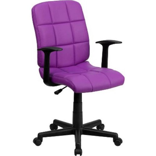 Mid-Back Purple Quilted Vinyl Swivel Task Chair with Nylon Arms - Flash Furniture