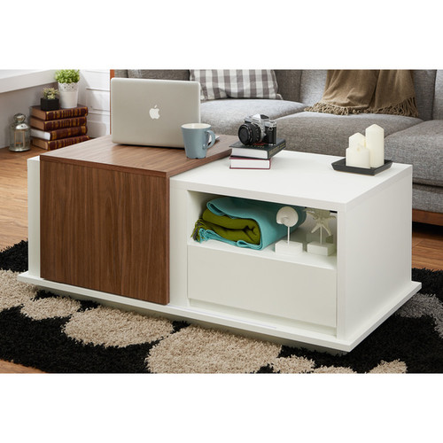 Furniture of America Curie Modern Two-Tone Storage Coffee Table with Sliding Top [option : White & Black]