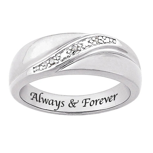 Sterling Silver Diamond Accent 'Always & Forever' Band