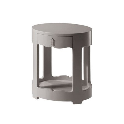 Brigitte Single Drawer Oval Table in Various Finishes by Bungalow 5 - Gray