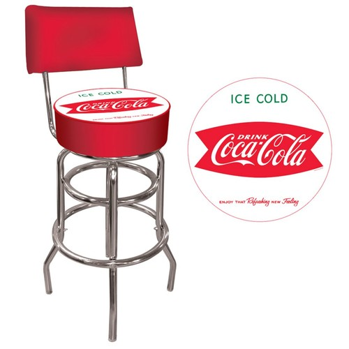 Trademark Global Vinyl Padded Swivel Bar Stool With Back, Red, Vintage Coca-Cola Coke Pub Stool