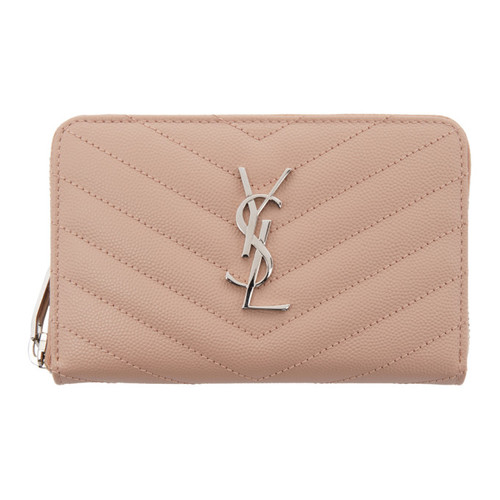 SAINT LAURENT Pink Small Monogram Zip Around Wallet