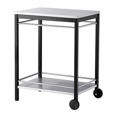 KLASEN Serving cart, outdoor, stainless steel black, brown stained
