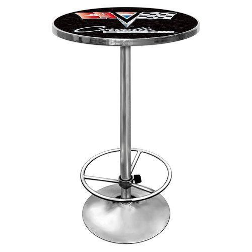 Trademark GM2000B-C2-COR Chrome Pub Table With Corvette Logo, Black Corvette