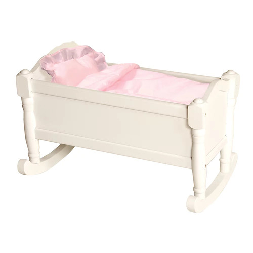 Guidecraft White Wooden Doll Cradle - Fits 18
