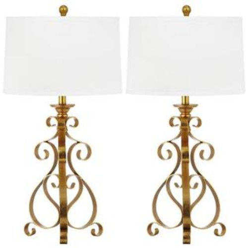 Safavieh Table Lamp with White Shade and Antique Gold Base - Set of 2