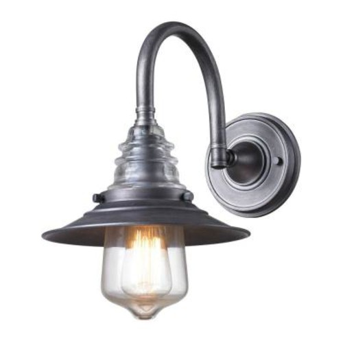 Titan Lighting Insulator Glass 1-Light Weathered Zinc Wall-Mount Bracket