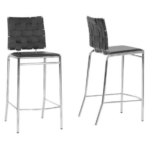 Vittoria Leather Modern Counter Stool - Black (Set of 2) - Baxton Studio