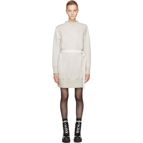 SACAI Ecru Sponge Belted Sweatshirt Dress