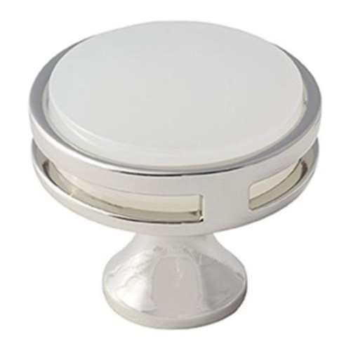 Amerock Oberon 1-3/8 in. (35 mm) Polished Nickel/Frosted Acrylic Cabinet Knob
