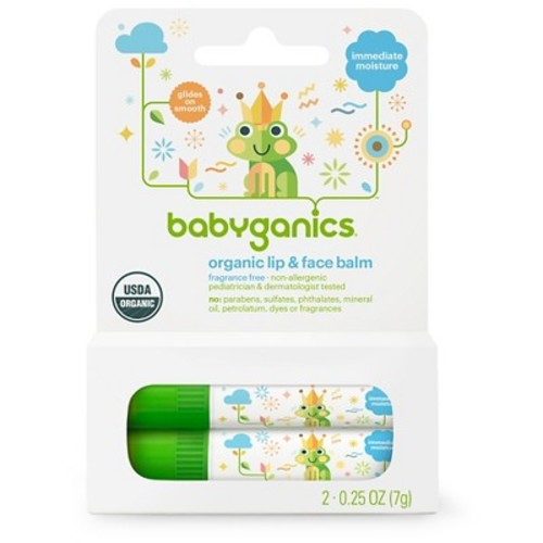 Babyganics Fragrance Free Lip and Face Balm Stick - 2 Pack